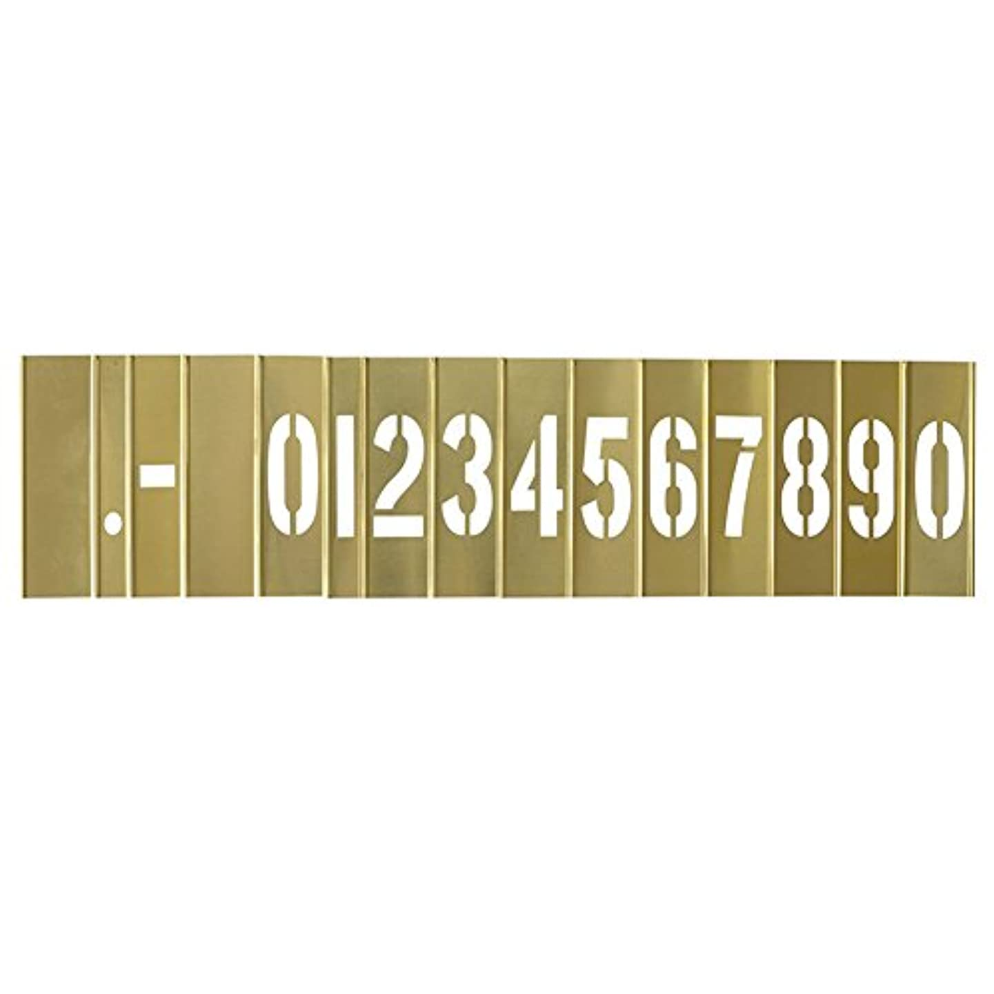 Deezio 1 Inch Brass Stencil Kit, Numbers and Punctuations Number Stencil - 15 Piece Set