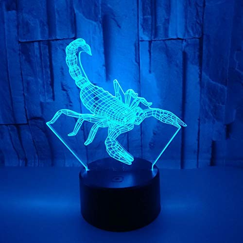 3D Escorpión Led Luz De Noche Ilusión Óptica Lámpara 16 Colores De Control Remoto Con Cable Usb Iluminación Decoración Dormir Lámpara, Regalos Perfectos Para Niños Cumpleaños