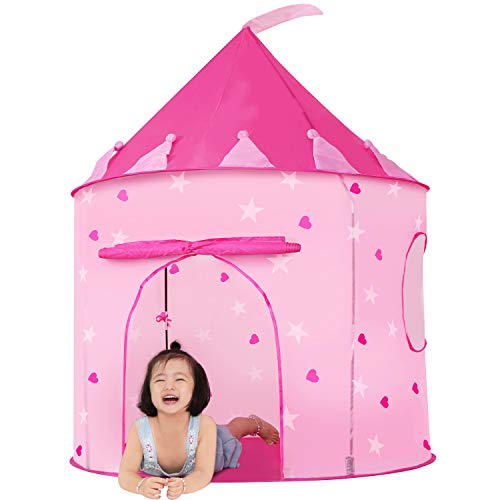 JOYBEE Kids Tent Pink Princess Castle Play Tent for Toddler Girl Toys Foldable Indoor Outdoor Large Playhouse with Carrying Case Gifts Rosy