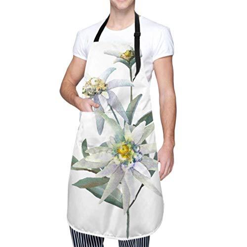 XHYYY wasserdichte Schürze mit Taschen, Edelweiss isoliert auf Weiß verstellbare Sicherheitsschürze, Kochschürze, Kochschürze Männer Frauen Küchenschürze, chemische Schürze