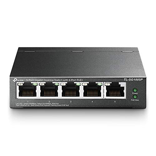 TP-Link TL-SG1005P 5-Port Gigabit PoE Switch mit 4 PoE+ Ports (65 Watt, geschirmte RJ-45 Ports,IEEE-802.3af/at, Plug-and-Play Installation, lüfterlos) Schwarz, v2.0