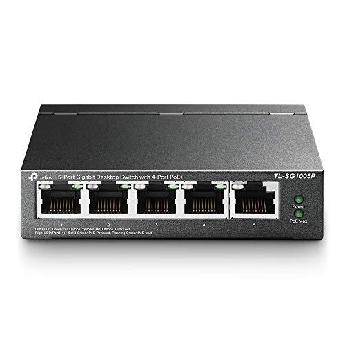 TP-Link TL-SG1005P 5-Port Gigabit PoE Switch mit 4 PoE+ Ports (65 Watt, geschirmte RJ-45 Ports,IEEE-802.3af/at, Plug-and-Play Installation, lüfterlos) Schwarz, v2.0