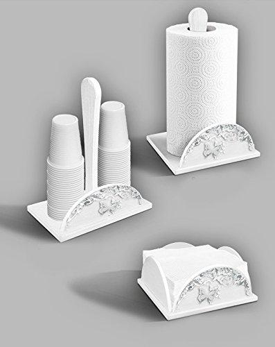 Set 3 pezzi porta bicchieri e portatovaglioli in legno white BUTTERFLY