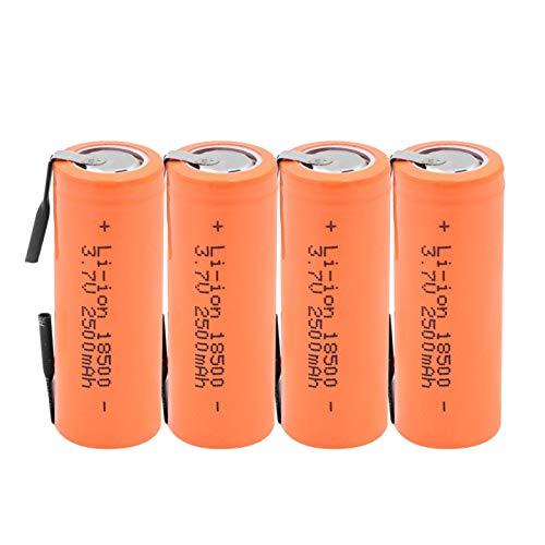 RitzyRose 18500 pilas recargables 3,7 V 2500 mAh batería de iones de litio, célula con 2 pestañas de soldadura baterías para linterna LED 4 unidades