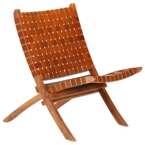 vidaXL Relaxstuhl Echtleder Kreuzstreifen Braun Klappstuhl Sessel Leder Stuhl
