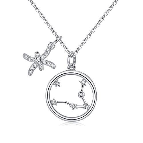 Qings Collar Plata Mujer Zodíaco Piscis BFF Amigas Amistad Collares Símbolos del Astrología Colgante Horóscopo Cumpleaños Regalo para Mujer Niña Fiesta