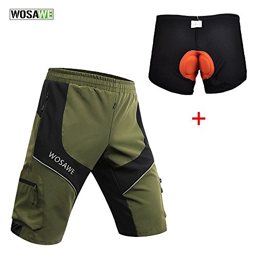 WOSAWE Men Mountain Loose-Fit Cycling MTB Shorts Plus Padded Underwear