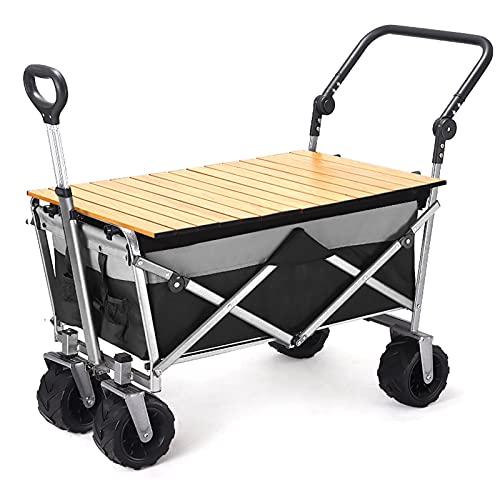 Garden Trolley Draagbare Campingtrolley Met Tafelbord, Buitenopslag Tuinwagen 120kg Draagvermogen, Duurzame Oxford-stof…