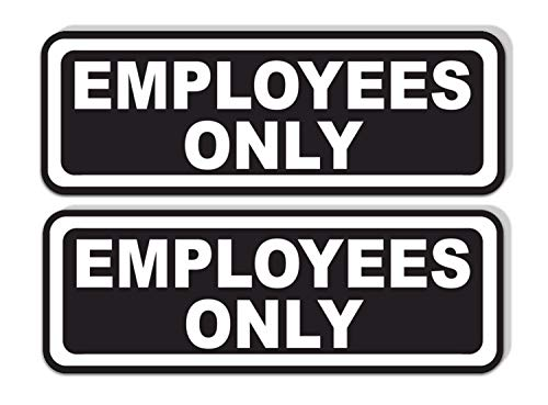 Employees Only Sticker for Doors (Pack of 2) | Black and White Laminated Vinyl 7.75 x 2.5-inches | Retail Compliance Signs for Restaurants, Retail Stores, Salons, Gas Stations, and Other