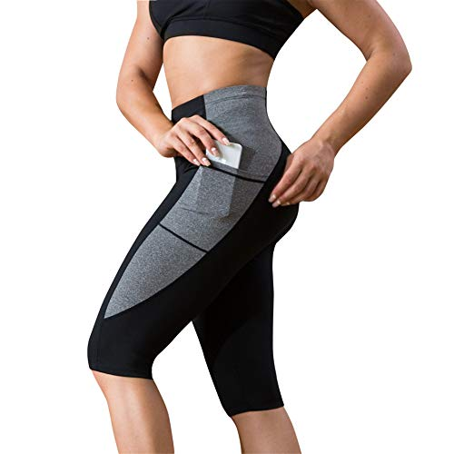 Rolewpy Women's Yoga Pants for Tummy Control High Waist Workout Running Capri Leggings with Side Pocket (Black Fitness Pants, X-Large)