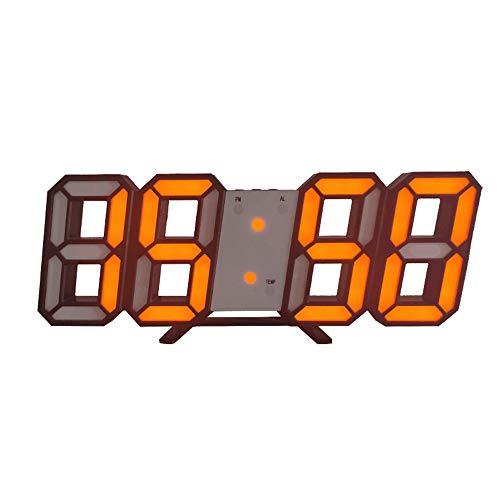 DIYARTS Reloj Despertador Digital LED Reloj de Pared Inteligente de Moda Puede Ajustar Automáticamente Brillo LED Noche para El Dormitorio (Black Body - Orange)