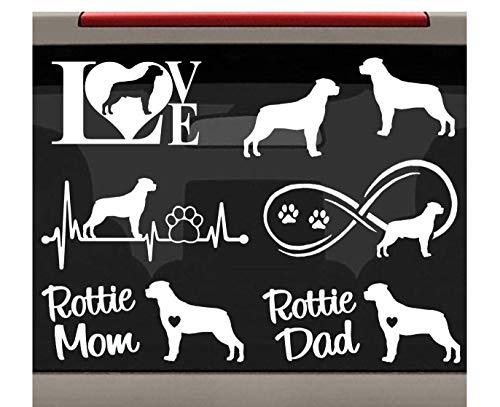 7-Count Rottweiler Rottie Mom Dad Dog Decal Sticker for Car Window BG 270