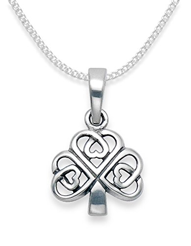 Heather Needham Sterling Silver Celtic Pendant Necklace on 16' Silver chain - Clover Pendant - SIZE: 11mm x 10mm plus ring. END OF LINE LOWER PRICE Gift Boxed 8158/16