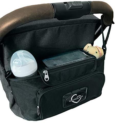 Kinderwagen Organizer Premium, Tochscreen Handytasche, Feuchttuchspender, Getränkefächer, Schultergurt (black/schwarz)