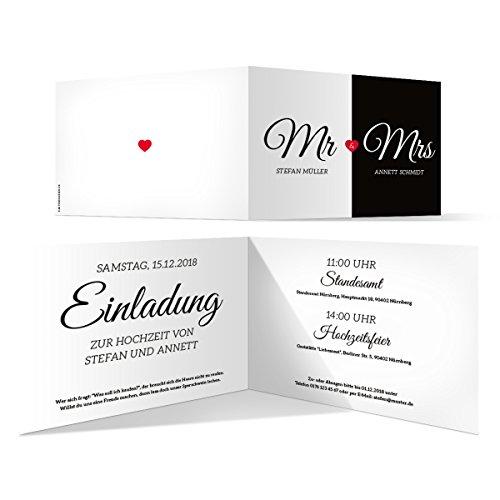 50 x Hochzeit Einladungskarten Hochzeitseinladungen Hochzeitskarten - Mr. & Mrs.