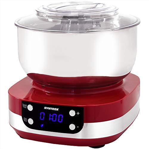 Syntrox Germany KM-800W RED Küchenmaschine Knetmaschine Mixer, Edelstahl-Behälter, 5 Liter
