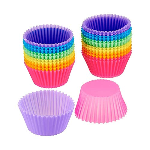 Silicone Cupcake Baking Cups - 24 Pack Rainbow Silicone Baking Cups - Non Stick Silicone Cups - Standard Size Reusable Silicone Muffin Cups Mold Liners Holder - BPA Free