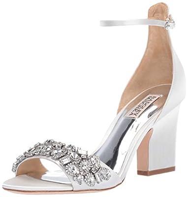 Badgley Mischka Women's Laraine Heeled Sandal, White Satin, 7.5 M US