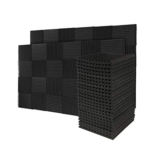 "50 Pack Acoustic Panels Soundproof Foam for Walls Sound Absorbing Panels Soundproofing Panels Wedge for Home Studio Ceiling, 1"" X 12"" X 12"", Black (50pcs, Black)"