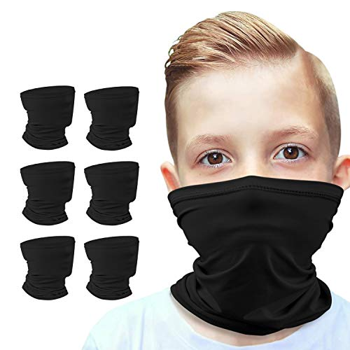 Anstronic [6-Pack] 6-14 Years Kids Cooling Neck Gaiter Scarf, Breathable Bandana Face Bandana Cover for Boys Girls Black