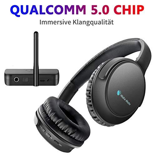 Kopfhörer für Fernseher mit Optischem Bluetooth Sender, makemate BKM200 Digital TV Kopfhörer, Einfaches Aufladen, 50m, Bequem – Schwarz