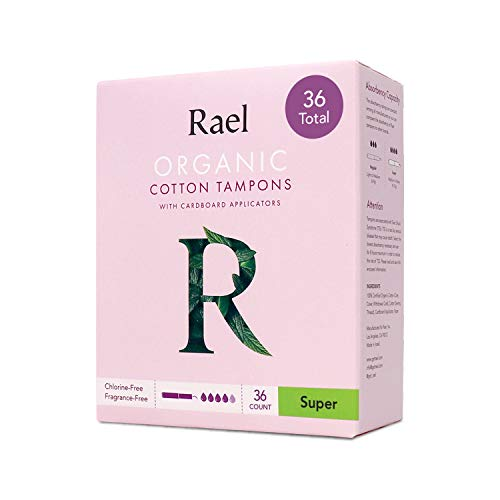 Rael Organic Cardboard Applicator Tampons  Super Absorbency with New Easy Grip Applicator Unscented Biodegradable Chlorine Free for Sensitive Skin 36 Count Super