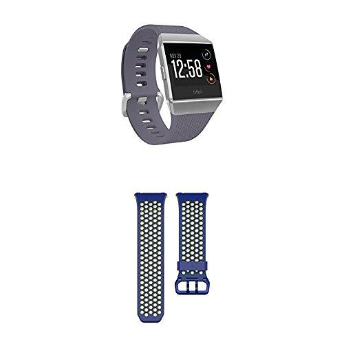 Fitbit Ionic Health & Fitness Smartwatch, Blue, OneSize + Ionic Sportarmband, Blau, S