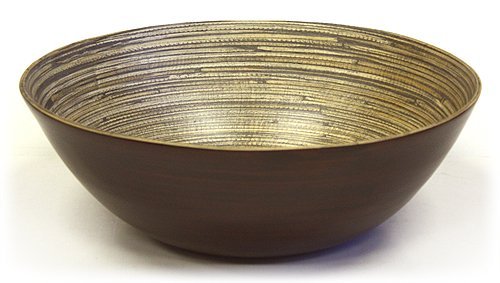 Simply Bamboo Wooden Serving Bowl | Matte Espresso | Eco-Friendly Dinnerware | Serving Bowl Set for Pasta, Fruit, Salad - 16' x 16' x 5.5'