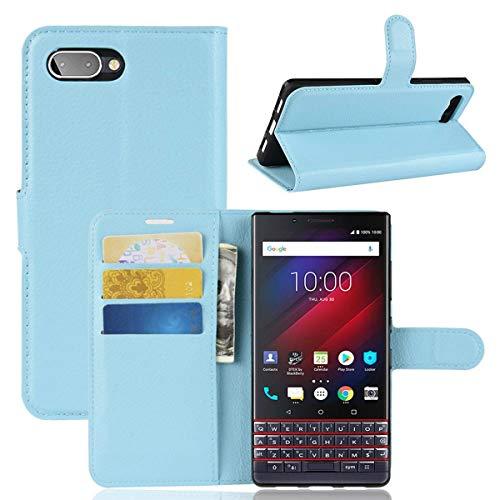 pinlu® PU Leder Tasche Handyhülle Für BlackBerry Key 2 LE/Key 2 lite Smartphone Wallet Hülle Mit Standfunktion & Kartenfach Design Hochwertige Ledertextur Blau