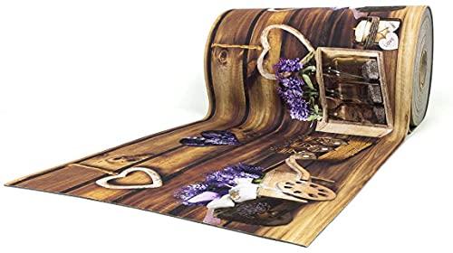 Tappeto Cucina Antiscivolo Lavabile in Vinile | Made in Italy | Passatoia Antimacchia in PVC/COTONE Interni e Esterni Stampa Digitale LAVANDA CUOR CARRETTO|Tappeti Runner Lungo in Gomma (52 x 250)