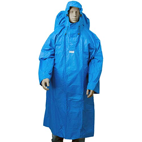 LOWLAND OUTDOOR - Poncho de lluvia con mochila, color azul, L