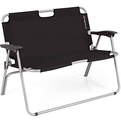 Goplus Folding Loveseat Camping Chair Outdoor...