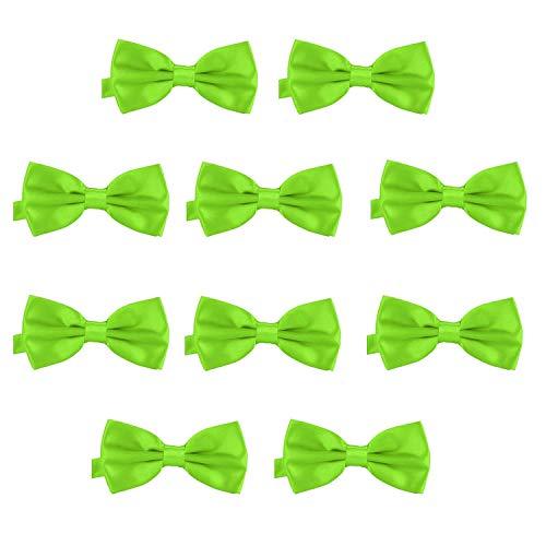 DonDon Set de 10 Pajarita para hombre de 12 x 6 cm ajustable y lista para usar - Neón verde