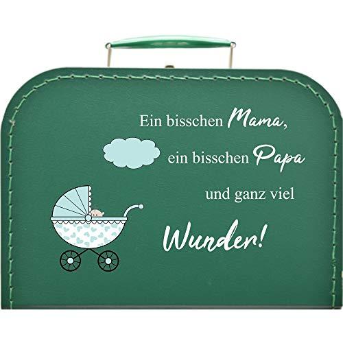 Pappkoffer zur Geburt, Kinderwagen & Spruch Koffergröße 20 x 14,5 x 8 cm, Farbe dunkelgrün