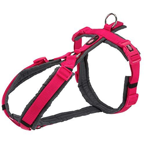 TRIXIE New Premium Trekking Geschirr, S-M: 44-53cm/20mm, Fuchsia/Graphit, Hund