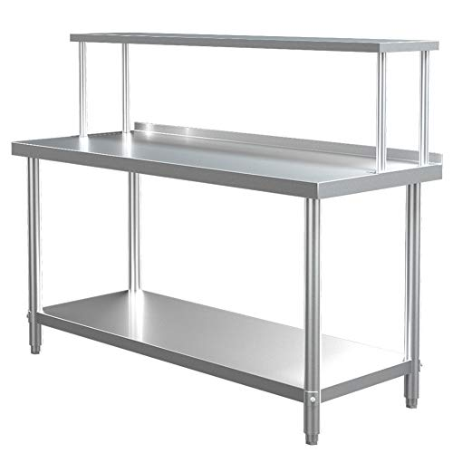The Fellie Catering Table 150cmX60cmX80cm with 3.5cm Backsplash, Single Tier Shelving 150x40x30cm for Stainless Steel Kitchen Workbench Commercial Work Bench