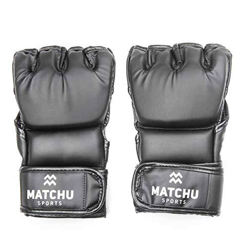 Matchu Sports - MMA handschoenen - maat M - zwart - Optimale steun voor elk pols - Geschikt voor MMA en Grappling - Gemaakt van sterk PU-leder - Verkrijgbaar in maat M en maat L - Sport - Vechtsport