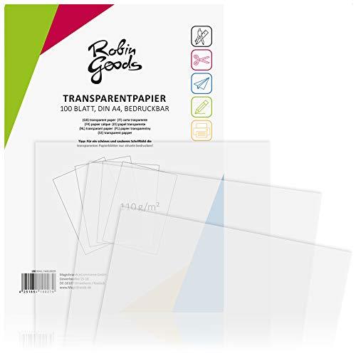 Robin Goods® 100 Fogli di Carta Trasparente Premium DIN A4, 110 g/m², qualità Eccellente, stampabile, Carta per lavori manuali, Carta da Lucido, Carta Pergamena (100 Fogli - Trasparenti)
