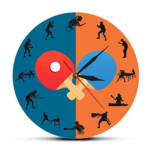 Reloj de Pared Pingpong Game Player Silueta Reloj de Pared Impreso Deportes Decoración para el hogar Mesa de Tenis Bat Silent Swept Wall Watch Pingpong Fans Gift