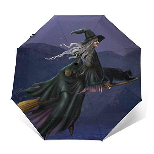 Best Deals! ALNANI Compact Lightweight Portable Travel Umbrella with Ergonomic Handle - Halloween Wi...