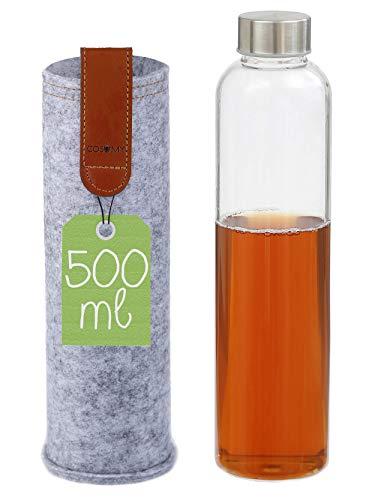 Borraccia Termica di Vetro con Custodia - 500ml - Portatile - Lavabile in Lavastoviglie - Resistente alle Alte Temperature