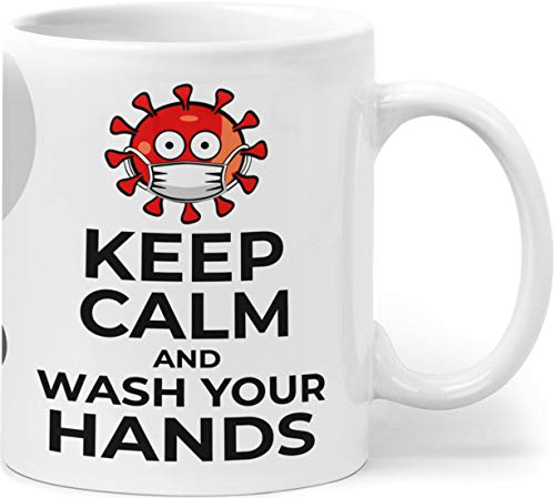 Orange9 Taza Corona Virus 2020 Keep Calm and Wash Hands contra Covid-19 Taza de café con mensaje regalo idea Statement Survival, cerámica, Keep Calm and Wash Your Hands, 8 x 8 x 9,6 cm, 330 ml