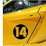 WYZDGTD Sticker de Carro by Divertida calcomanía de Vinilo número 14 Pegatina para Coche decoración automática en Parachoques de camión Ventana Trasera 3 uds 15X15 Cm