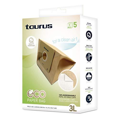 Taurus 999175000 Paquete de 5 bolsas de papel ECO para aspiradores trineo de 3 litros de capacidad, Paper
