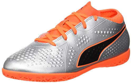 Puma Unisex-Kinder ONE 4 SYN IT JR Fußballschuhe, Silber Silver-Shocking Orange Black 01, 38 EU