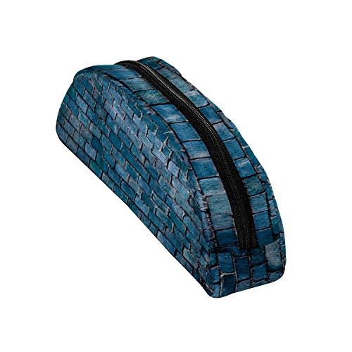 Halbrundes Federmäppchen mit Reißverschluss, für Reisen, Kosmetik, Make-up, Organizer, Geschenke für Jungen, Mädchen, Teenager, Schule, blauer Ziegelsteinmauer-Hintergrund
