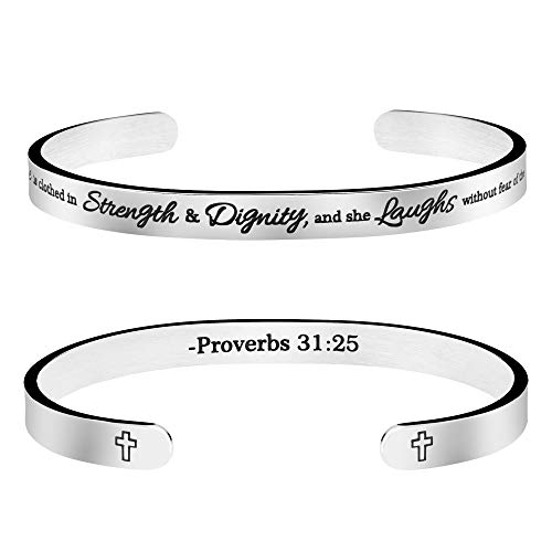"""Christian Gift for Her Inspirational Bible Verse Bracelet""""She is clothed in strength and dignity and she laughs without fear of the future"""""""