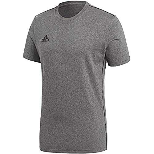 adidas Kinder Core 18 Tee T-Shirt, Dark Grey Heather/Black, 152