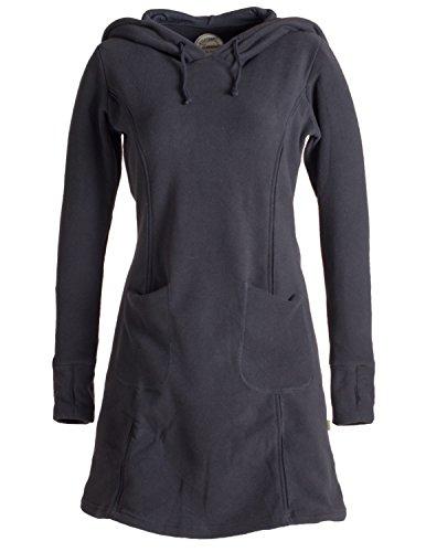 Vishes- Alternative Bekleidung - Langarm Winterkleid aus recyceltem Eco Fleece mit großer Zipfelkapuze schwarz 46-48