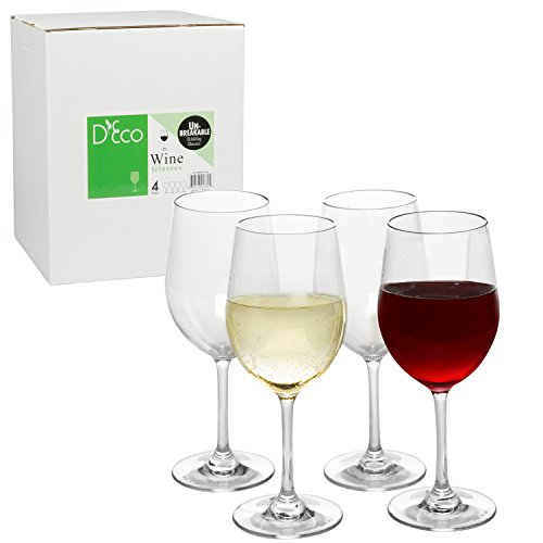 powerful Unbreakable Wine Glasses – 100% Tritan – Unbreakable, Reusable, Dishwasher Safe (4 of Set) by D'Eco